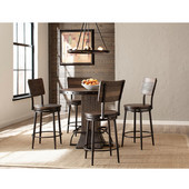Jennings Collection 5-Piece Round Counter Height Dining Set with (4) Non-Swivel Counter Stools in Distressed Walnut Finished Wood with Brown Metal, 40'' Diameter x 46'' H
