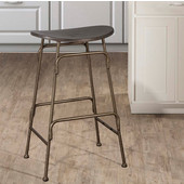 Mitchell Collection Non-Swivel Backless Counter Stool with Black Finished Wood Seating and Old Bronze Metal Frame, 18-1/2'' W x 15-1/8'' D x 26-1/2'' H