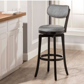 Sloan Swivel Bar Stool, Black Frame with Slate Gray Fabric Seat
