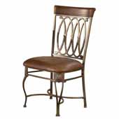 Montello Dining Chairs, Set of 2, Old Steel with Distressed Brown Faux Leather Seats, 21''W x 18''D x 39''H