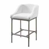 Dillon Non-Swivel Bar Stool With White Woven Fabric, Textured Silver Finish, 20-5/8''W x 21-1/2''D x 35-1/4''H