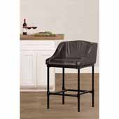Dillon Non-Swivel Counter Height Stool in Matte Black with Charcoal Faux Leather, 20-5/8''W x 21-1/2''D x 35-1/4''H
