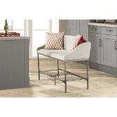 Dillon Counter Height Bench in Pewter Finish and Woven Fabric, 56-1/4'' W x 21-1/2'' D x 37-1/2'' H