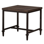 Trevino End Table, Distressed Walnut / Copper Brown Metal