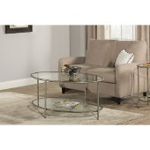 Corbin Coffee Table with (2) Glass Shelves in Silver with Black Rub Finish, 48'' W x 30'' D x 20'' H