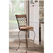 Lannis Swivel Bar Stool With Taupe Fabric, Brushed Steel Metal & Distressed Brown Finish