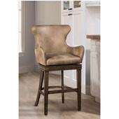 Caydena Swivel Bar Stool With Taupe Faux Leather, Rustic Gray Finish Finish