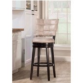 Kaede Swivel Bar Stool With Gray Finish Faux Leather, Black Finish