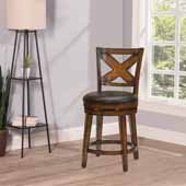 Sunhill Swivel Counter Height Stool, Rustic Oak, 19-1/2''W x 23''D x 41-1/4''H