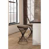 Kanister Backless Non-Swivel Counter Height Stool in Weathered Walnut Wood and Dark Pewter Metal, 17''W x 17''D x 26''H