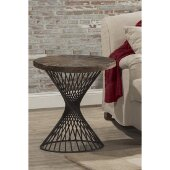 Kanister End Table in Weathered Walnut Finished Wood/Dark Pewter Metal Finish, 22'' W x 22'' D x 24'' H