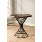 Kanister Round Counter Height Dining Table with Weathered Walnut Wood and Dark Pewter Metal, 36''W x 36''D x 36''H