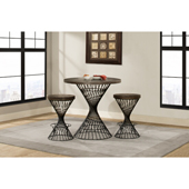 Kanister 3-Piece Round Counter-Height Dining Set in Walnut Wood and Dark Pewter Metal Finish