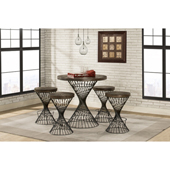 Kanister 5-Piece Round Counter-Height Dining Set in Walnut Wood and Dark Pewter Metal Finish