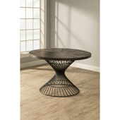 Kanister Round Dining Table in Walnut Wood and Dark Pewter Metal Finish