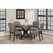 Kanister 5-Piece Round Dining Set with (4) Emerson Parsons Dining Chairs, Weathered Walnut Wood and Dark Pewter Metal