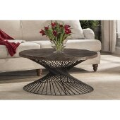 Kanister Coffee Table in Weathered Walnut Finished Wood/Dark Pewter Metal Finish, 40-5/8'' W x 40-5/8'' D x 20'' H