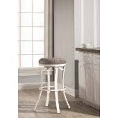 Kelford Swivel Backless Counter Stool in White Finish and Paver Fabric, 17'' Diameter x 26'' H