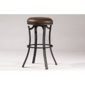 Kelford Swivel Backless Bar Stool in Textured Black Finish and Cocoa Fabric, 17'' Diameter x 30'' H