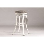 Kelford Swivel Backless Bar Stool in White Finish and Paver Fabric, 17'' Diameter x 30'' H