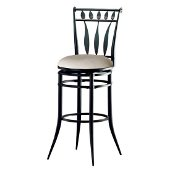 Hudson Swivel Counter Stool in Black Finish and Stone Faux Suede, 20-1/2'' W x 20-1/2'' D x 39-1/2'' H