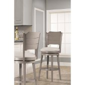 Clarion Swivel Counter Stool in Distressed Gray Finish and Fog Fabric, 17-1/2'' W x 21'' D x 41-1/4'' H
