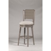 Clarion Swivel Bar Stool in Distressed Gray Finish and Fog Fabric, 17-1/2'' W x 21'' D x 45-1/4'' H