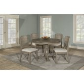 Clarion 5-Piece Round Dining Set with Side Chairs in Distressed Gray Finish and Fog Fabric , 48'' Diameter x 37-1/8'' H