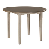 Clarion Round Drop Leaf Dining Table in Distressed Gray Top / Sea White Base Finish, 42'' Diameter x 30'' H