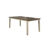 Clarion Rectangle Dining Table in Distressed Gray Top / Sea White Base Finish, 62'' - 78'' W x 40'' D x 30'' H