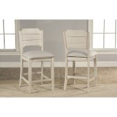Clarion Non-Swivel Open Back Counter Height Stool, Set of 2 in Sea White Finish and Fog Fabric , 19'' W x 22-1/2'' D x 41-1/4'' H