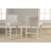 Clarion Non-Swivel Wing Arm Counter Height Stool, Set of 2 in Sea White Finish and Fog Fabric , 20'' W x 25'' D x 35-1/2'' H