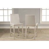 Clarion Non-Swivel Parson Counter Height Stool, Set of 2 in Sea White Finish and Fog Fabric , 17-1/2'' W x 22-1/2'' D x 41-1/4'' H