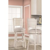 Clarion Swivel Counter Stool in Sea White Finish and Fog Fabric, 17-1/2'' W x 21'' D x 41-1/4'' H