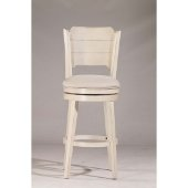 Clarion Swivel Bar Stool in Sea White Finish and Fog Fabric, 17-1/2'' W x 21'' D x 45-1/4'' H