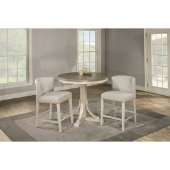 Clarion Round Counter Height Dining Table in Distressed Gray Top / Sea White Base Finish, 42'' Diameter x 36-1/4'' H