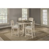 Clarion 5-Piece Round Counter Height Dining Set with Open Back Stools in Distressed Gray Top / Sea White Base Finish and Fog Fabric , 47-1/4'' Diameter x 41-1/4'' H