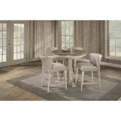 Clarion 5-Piece Round Counter Height Dining Set with Wing Arm Stools in Distressed Gray Top / Sea White Base Finish and Fog Fabric , 47-1/4'' Diameter x 35-1/2'' H