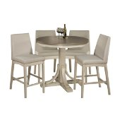 Clarion 5-Piece Round Counter Height Dining Set with Parson Stools in Distressed Gray Top / Sea White Base Finish and Fog Fabric , 47-1/4'' Diameter x 41-1/4'' H