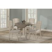 Clarion 5-Piece Round Drop Leaf Dining Set with Side Chairs in Sea White Finish and Fog Fabric , 42'' Diameter x 37-1/8'' H