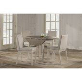 Clarion 5-Piece Round Drop Leaf Dining Set with Upholstered Chairs in Sea White Finish and Fog Fabric , 42'' Diameter x 37-1/8'' H