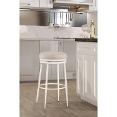 Aubrie Swivel Backless Counter Stool in Off White Finish and Silver Fabric, 15'' Diameter x 26'' H