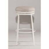 Aubrie Swivel Backless Bar Stool in Off White Finish and Silver Fabric, 15'' Diameter x 30'' H