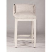 Bronn Non-Swivel Bar Stool, Set of 2 in White (Wirebrush) Finish and Silver Fabric, 18-1/2'' W x 18-1/4'' D x 37-3/4'' H