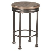 Casselberry Swivel Backless Round Counter Stool in Distressed Walnut Wood / Brown Metal Finish, 17-3/16'' Diameter x 26-1/4'' H