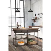 Casselberry Kitchen Cart in Brown / Distressed Walnut Finished Top Finish, 48'' W x 18'' D x 36-1/4'' H