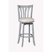 Savana Swivel Counter Stool in Blue (Wirebrush) Finish and Cream Fabric, 17-3/4'' W x 19'' D x 39-1/8'' H