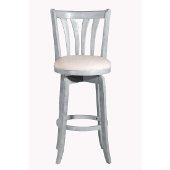 Savana Swivel Bar Stool in Blue (Wirebrush) Finish and Cream Fabric, 17-3/4'' W x 19'' D x 43-5/8'' H