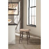 Saddle Non-Swivel Backless Counter Stool in Rustic Gray Finish and Taupe Faux Leather, 17-5/8'' W x 12-3/4'' D x 26'' H