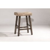 Saddle Non-Swivel Backless Bar Stool in Rustic Gray Finish and Taupe Faux Leather, 17-5/8'' W x 12-3/4'' D x 30'' H